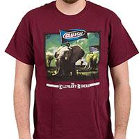 Clutch- Elephant Riders on a maroon shirt