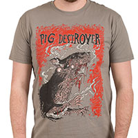 Pig Destroyer- Rat on a slate ringspun cotton shirt