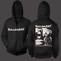 Discharge- Logo on front, Hear Nothing on a black zip up hooded sweatshirt
