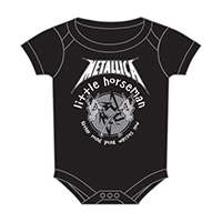 Metallica- Little Horseman on a black one piece snap bottom baby shirt (S=0-6 mo, M=6-12 mo, L=12-18 mo, XL=18-24 mo) (Sale price!)