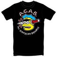 A.C.A.B. Chief Wiggum on a black guys shirt by Thrillhaus - SALE sz S only