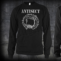 Antisect- Peace Is Better Than A Place In History on front, Grain Symbol on back on a black LONG SLEEVE shirt