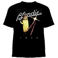 Blondie- 1978 on a black ringspun cotton shirt by Goodie Two Sleeves (Sale price!)