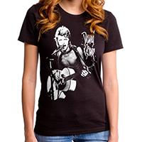David Bowie- New Era Rock on a black GIRLS fitted shirt by Goodie Two Sleeves