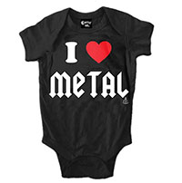 I Heart Metal on a black onesie by Cartel Ink