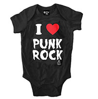 I Heart Punk Rock on a black onesie by Cartel Ink