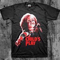 Childs Play- Chucky on a black shirt