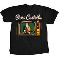 Elvis Costello- Vintage TV on a black ringspun cotton shirt