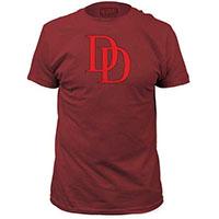 Marvel Comics- Daredevil Vintage DD Logo on a maroon ringspun cotton shirt