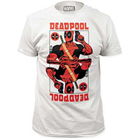 Marvel Comics- Deadpool Wild Card on a white ringspun cotton shirt