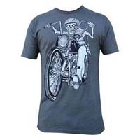 Dead Rider on a charcoal ringspun cotton shirt by Low Brow Art Company (Artist Rob Dringenberg) - SALE
