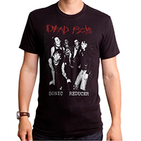Dead Boys- Logo Above, Sonic Reducer Below on a black ringspun cotton shirt by Goodie Two Sleeves