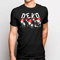 Devo- Slightly Left Band Pic on a black ringspun cotton shirt by Goodie Two Sleeves (Sale price!)