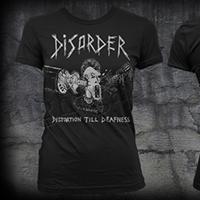 Disorder- Distortion Till Deafness on a black girls ringspun cotton shirt