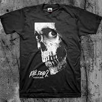 Evil Dead 2- Dead By Dawn Skull (White) on a black shirt (Sale price!)
