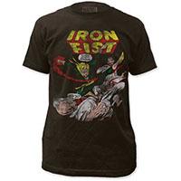 Marvel Comics- Iron Fist Vintage Comic on a black ringspun cotton shirt