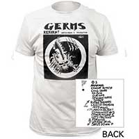 Germs- Return on front, Songs on back on a white ringspun cotton shirt