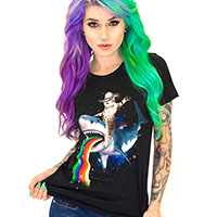 Bucking Sharkaroo on a black girls fitted shirt by Goodie Two Sleeves (Sale price!)