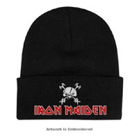 Iron Maiden- Final Frontier embroidered on a black cuffed beanie