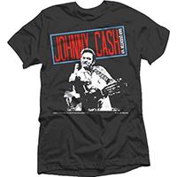 Johnny Cash- Finger (Red Logo San Quentin '69) on a black ringspun cotton shirt