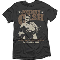 Johnny Cash- Finger (Brown Logo San Quentin State Prison) on a black ringspun cotton shirt