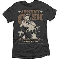Johnny Cash- Finger (Brown Logo San Quentin State Prison) on a black ringspun cotton shirt