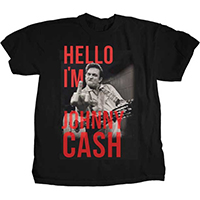 Johnny Cash- Finger (Hello I'm Johnny Cash) on a black ringspun cotton shirt