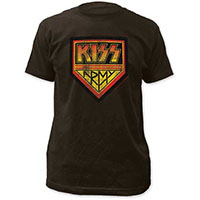 Kiss- Distressed Kiss Army on a black ringspun cotton shirt
