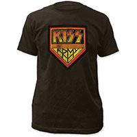 Kiss- Distressed Kiss Army on a black ringspun cotton shirt