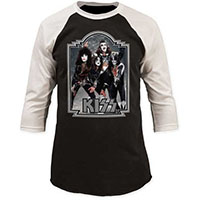 Kiss- Band Pic on a black & white 3/4 sleeve shirt shirt