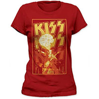 Kiss- Gene Fire on a cardinal girls fitted shirt (Sale price!)