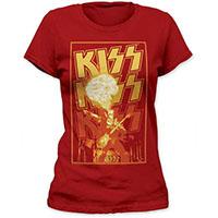 Kiss- Gene Fire on a cardinal girls fitted shirt