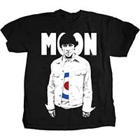Keith Moon- Standing Pic on a black ringspun cotton shirt