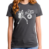 David Bowie- Ziggy Stardust on a charcoal girls fitted shirt by Goodie Two Sleeves