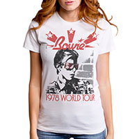 David Bowie- 1978 World Tour on a white girls fitted shirt by Goodie Two Sleeves (Sale price!)