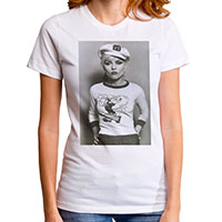 Blondie- Sailor Cap Pic on a white girls fitted shirt by Goodie Two Sleeves