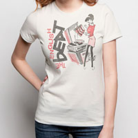 English Beat- Turntable Girl on a vintage white girls fitted shirt by Goodie Two Sleeves (Sale price!)