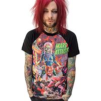 Mars Attacks- Sin City Skinner on guys raglan shirt by Kreepsville 666 - SALE sz S & 2X only
