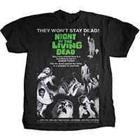 Night Of The Living Dead- They Won't Stay Dead on front, Quote on back on a black shirt