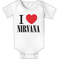 Nirvana- I Love Nirvana on a white onesie (S=0-6m, M=6-12m, L=12-18m, XL=18-24m)