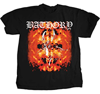 Bathory- Flaming Goat Head on a black shirt