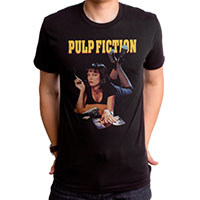 Pulp Fiction- Mia on a black ringspun cotton shirt by Goodie Two Sleeves