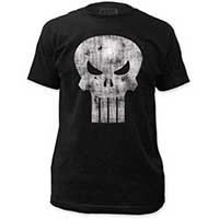 Marvel Comics- Distressed Punisher Skull on a black ringspun cotton shirt