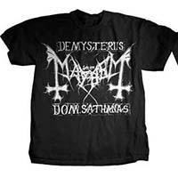 Mayhem- De Mysteriis Dom Sathanas (Logo) on front, Orthodox Black Metal Fundamentalist on back on a black shirt