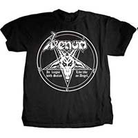 Venom- In League With Satan on front, Lyrics on back on a black shirt