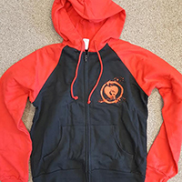 Rise Against- Skull on front, Logo on back on a Black & Red zip up girls hooded sweatshirt (Sale price!)