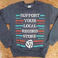 Support Your Local Record Store (Christmas Sweater Design) on a heather grey crew neck sweatshirt (Record Store Day 2015) - SALE sz S only