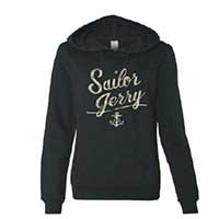 SJ Script Black Hooded Girls Sweatshirt by Sailor Jerry - SALE sz S only