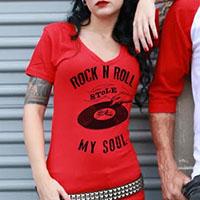 Rock N Roll V Neck t-shirt by Se7en Deadly - in red