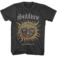Sublime- Long Beach Sun on a heather charcoal ringspun cotton shirt